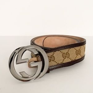 GUCCI Logo Brown Canvas/Leather Belt